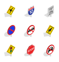 Road sign icons isometric 3d style vector