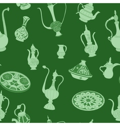 Seamless green pattern of arabic crockery vector