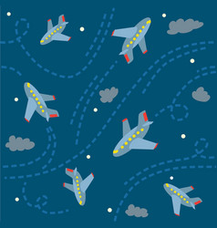 seamless pattern with funny planes in the sky vector image