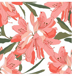 Seamless pattern with oleander flower vector