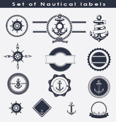 set nautical labels vector image