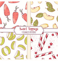 Set of hand drawn seamless patterns vector