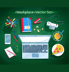 set of office workplace vector image