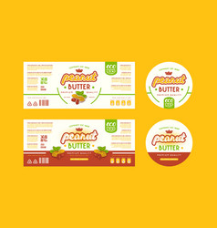 Set of templates label for peanut butter vector