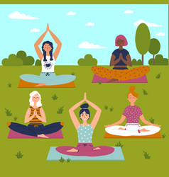 set with beautiful women in lotus pose of yoga vector image