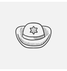 Sheriff hat sketch icon vector image