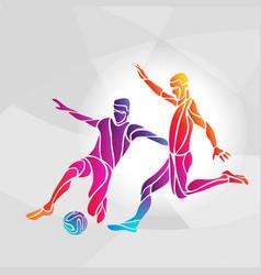 soccer players footballers kicks ball in vector image