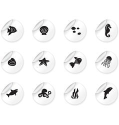 Stickers with ocean life icons vector image