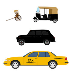 taxi cab icon set yellow taxi london cab hand vector image