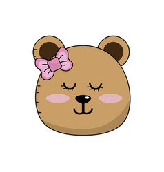 Teddy bear girl head animal wild vector