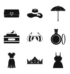 Trendy clothing icons set simple style vector