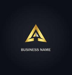 triangle arrow gold company logo vector image