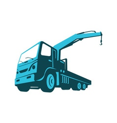 Truck crane cartage hoist retro vector