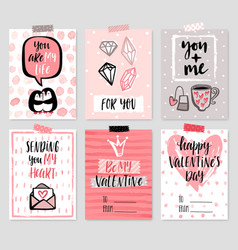 valentines day card set - hand drawn style with vector image