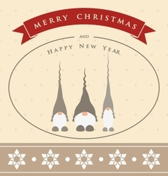 Vintage christmas card with three cute gnomes vector