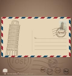 Vintage envelope designs with postage stamp vector