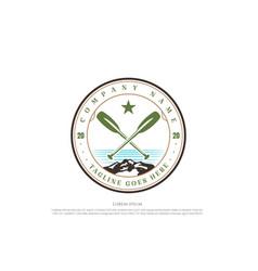 vintage kayak canoe rafting boat badge emblem for vector image