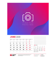 Wall calendar planner template for june 2019 week vector