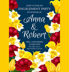 Wedding invitation floral card engagement party vector