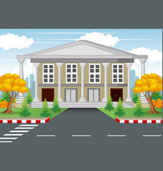 White house with road and town background vector