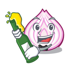 With beer fresh slice onion isolated on mascot vector