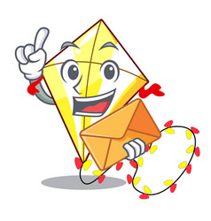 with envelope kite small the cartoon on table vector image