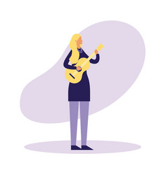 woman standing playing guitar music vector image
