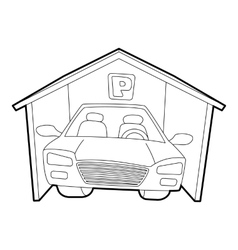 Covered car parking icon isometric 3d style vector image vector image
