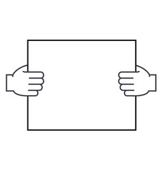 hands holding paper line icon sign vector image