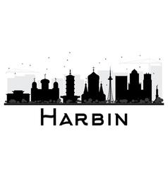 Harbin City skyline black and white silhouette vector image vector image