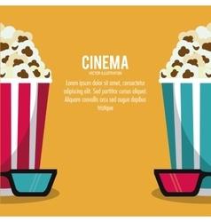 pop corn glasses movie film cinema icon vector image vector image