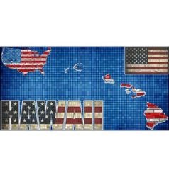 USA state of Hawaii on a brick wall vector image vector image