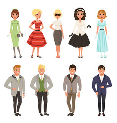 young men and women wearing vintage clothing set vector image