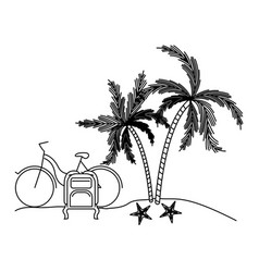 black silhouette with landscape in beach with bike vector image vector image