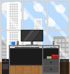 Computer station and urban landscape from window vector image vector image
