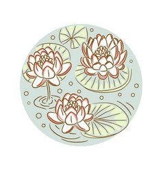 lotus floral round plate design vector image vector image