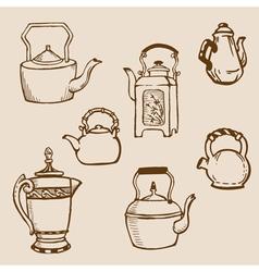 set of teapot doodles vector image