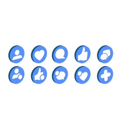 trendy social network icons set vector image vector image