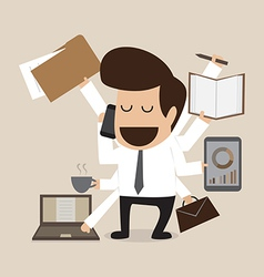 Businessman with multi tasking and multi skill vector image vector image