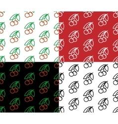 Cherry seamless pattern set vector image