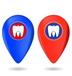 Dentist Red Blue Markers vector image