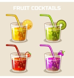 glass of cold fruit cocktails with ice vector image vector image