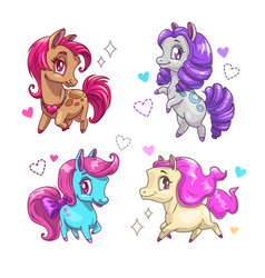 little cute pony set vector image vector image