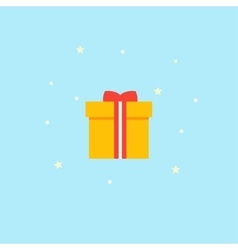 New Years gift - Icon Yellow box with red vector image vector image