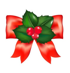 Red Bow With Holly Berry vector image vector image