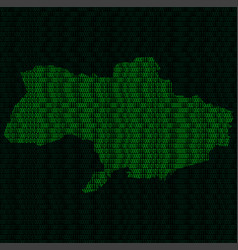 silhouette of ukraine from binary digits vector image vector image