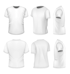 All six views mens white short sleeve t-shirt vector image