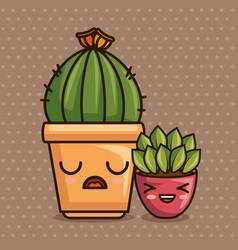 cute kawaii cactus and succulent cartoon vector image