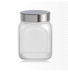 empty transparent glass jar with metal cap vector image