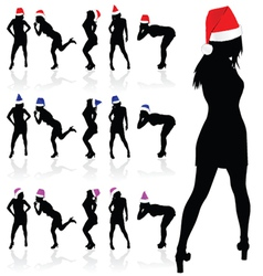 girl with three color christmas hat vector image vector image